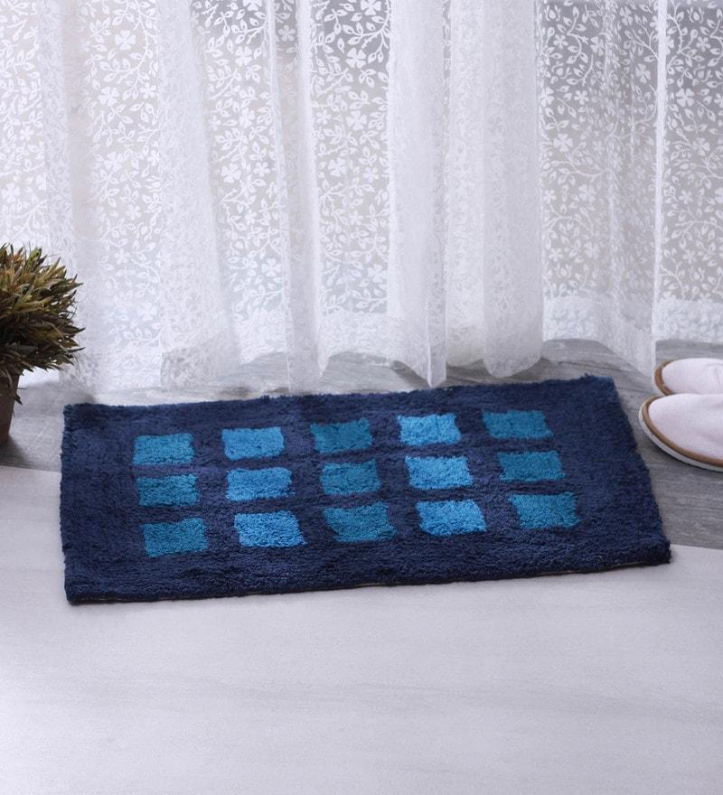 Bianca Blue 100% Cotton 16 X 24 Bath Mat - Set of 2