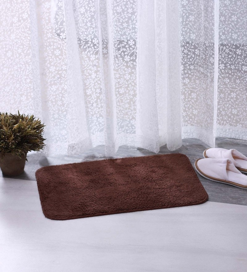 Bianca Brown & Maroon 100% Cotton 16 X 24 Bath Mat - Set of 2