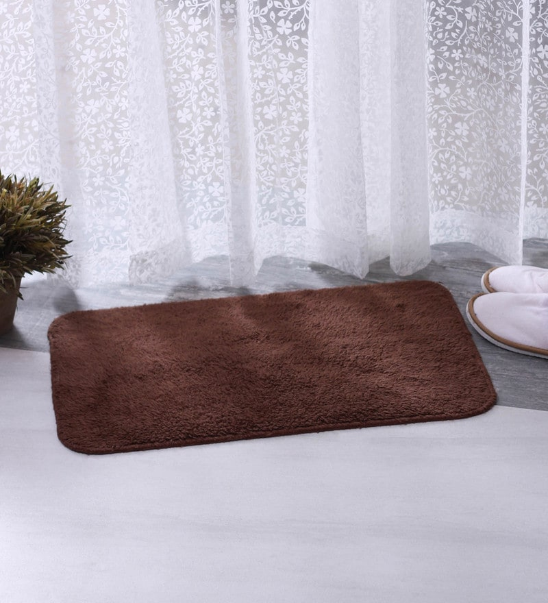 Brown 100% Cotton 16 X 24 Bath Mat - Set of 2 by BIANCA