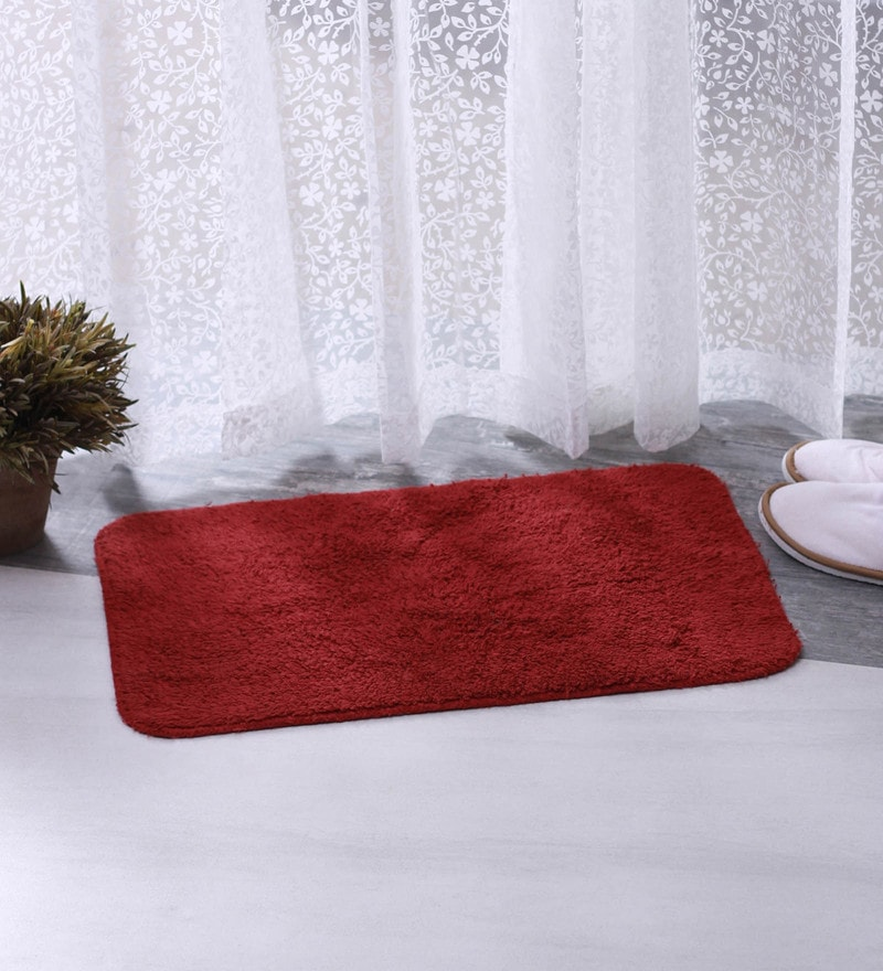 Maroon 100% Cotton 16 X 24 Bath Mat - Set of 2 by BIANCA