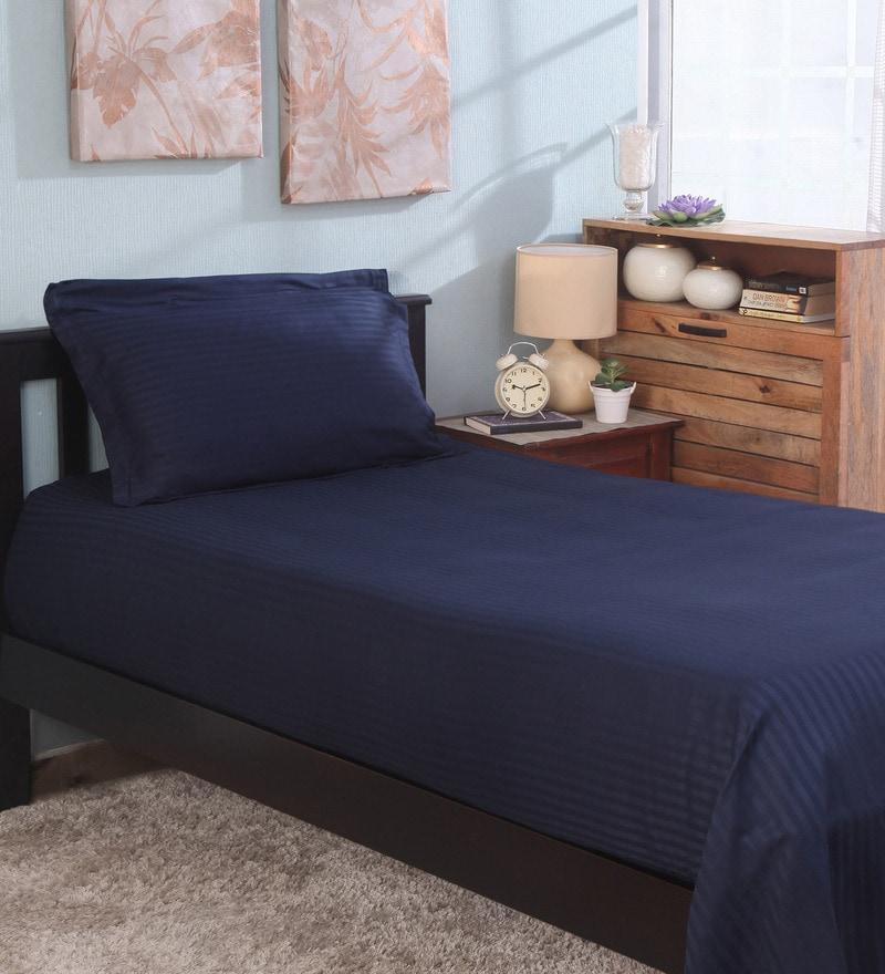 Bianca Navy Blue 100% Cotton Single Size Bedsheet - Set of 2