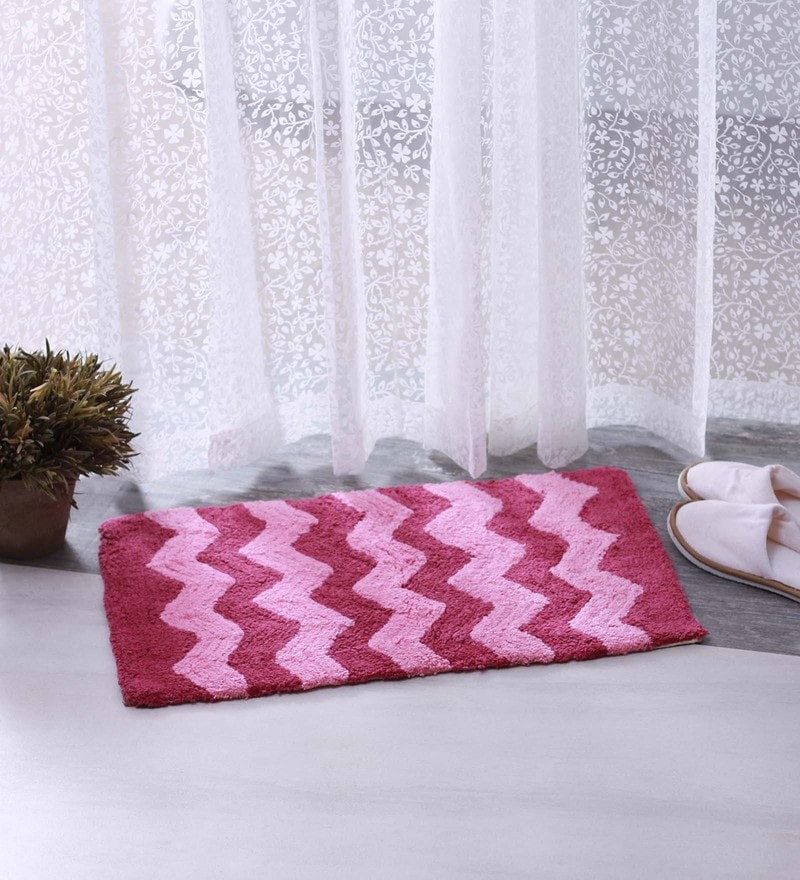 Pink 100% Cotton 16 X 24 Bath Mat - Set of 2 by BIANCA