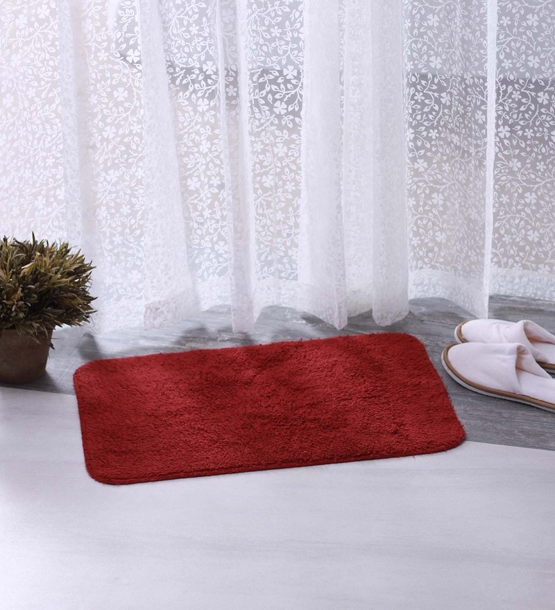 Red & Maroon 100% Cotton 16 X 24 Bath Mat - Set of 2 by BIANCA
