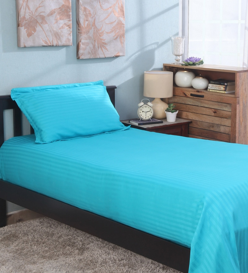 Bianca Teal 100% Cotton Single Size Bedsheet - Set of 2