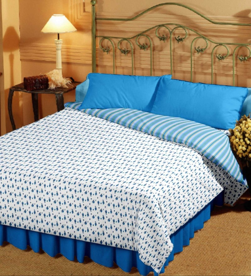 Bianca White and Blue 100% Cotton 82 x 94 Inch Super Soft Reversible Double Dohar
