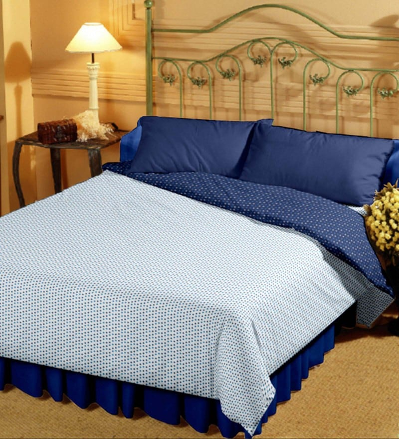 Bianca White and Navy Blue 100% Cotton 82 x 94 Inch Super Soft Reversible Double Dohar