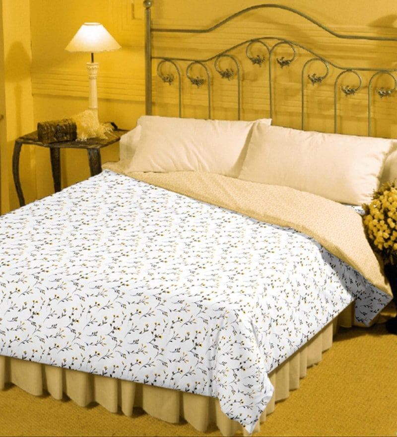 Bianca White and Yellow 100% Cotton 82 x 94 Inch Super Soft Reversible Double Dohar