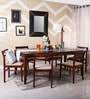 Bibiana Six Seater Dining Set in Honey Oak Finish by Woodsworth