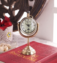Black & Gold Brass & Acrylic Table Clock - 1727661