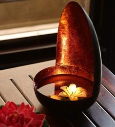 Black & Orange Iron Oval Shaped Floating Table Tea Light Holder