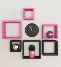 Black & Pink Engineered Wood Square Wall Shelves - Set Of 6 By Home Sparkle