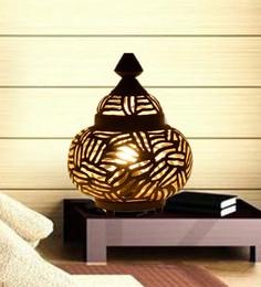 Black And Gold Iron Moroccan Matki Handmade Table Lamp - 1726164
