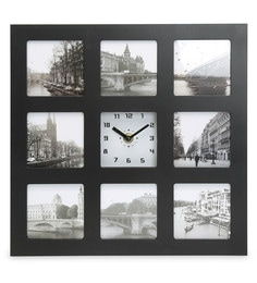 Black And White Plastic Analog Table Clock With Photo Frame