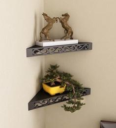 Black Engineered Wood Corner Wall Shelves - Set Of 2