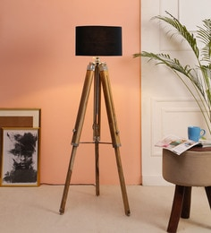 Black Fabric Floor Tripod Lamp