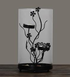 Black Glass & Metal Candleworks Floral Harvest Tea-Light Holder