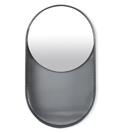 Black Glass An Oval Shaped Wall Mirror In A Magnet Board