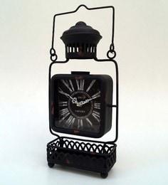 Black Metal & Glass 7.5 X 3 X 15 Inch Vintage Desk Clock