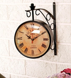 Black Metal Vintage Style Station Double Side Wall Clock