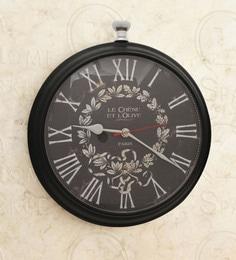 Black Mild Steel 12 X 3 X 13 Inch Roman Round Dial Wall Clock