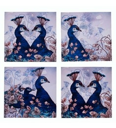 Blank Slate Digital Multicolour Peacocks In Beautiful Indigo Hues Coasters - Set Of 4