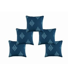 Blue And White 100% Cotton 16 X 16 Inch Cushion Covers - Set Of 5