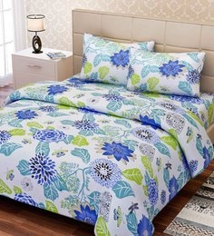 Essentials Floral Pattern 144TC Cotton Queen Size Bed Sheet With 2 Pillow  Covers ...
