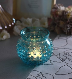 Blue Glass Bubble Doom Tea Light Holders  - Set Of 2
