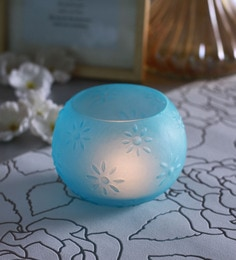 Blue Glass Star Doom Tea Light Holders  - Set Of 2