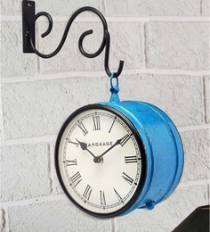 Blue MDF & Metal Handcrafted Crackle Double Side Platform Clock