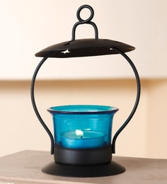 Blue Metal And Glass Decorative Hanging Tealight Candle Holder