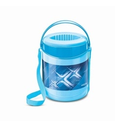 Blue Plastic & Stainless Steel Lunch Box With Leak Lock 3 Containers