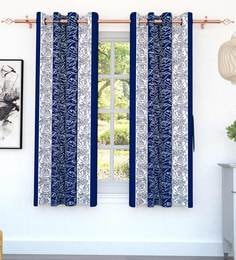 Blue Polyester 5 Feet Set Of 2 Window Curtains