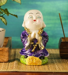 Purple Polyresin Musical Buddha Idol