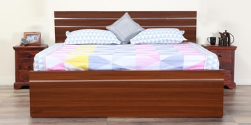 Blaze Queen Size Bed With Box Storage In Classic Planked Walnut Finish