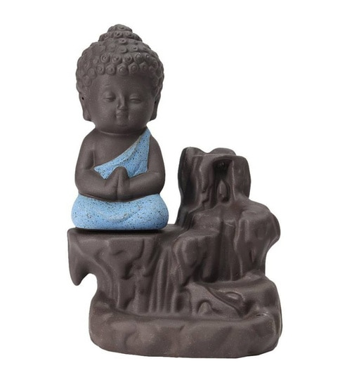 Blue Polyresin Monk Buddha Smoke Flow Incense Holder with 10 Free Scented Cone by Aspiration collection