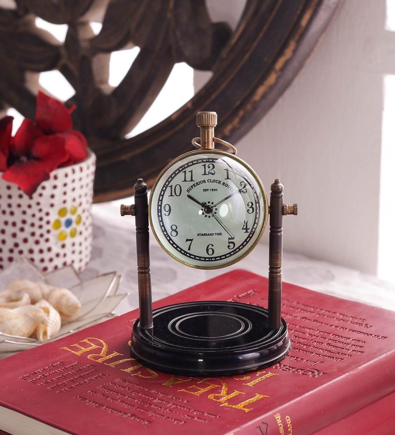 Black & Gold Brass & Acrylic Table Clock - 1727670