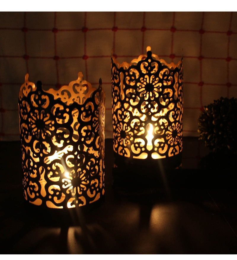Black & Gold Metal Sleeve Tealights by Hosley