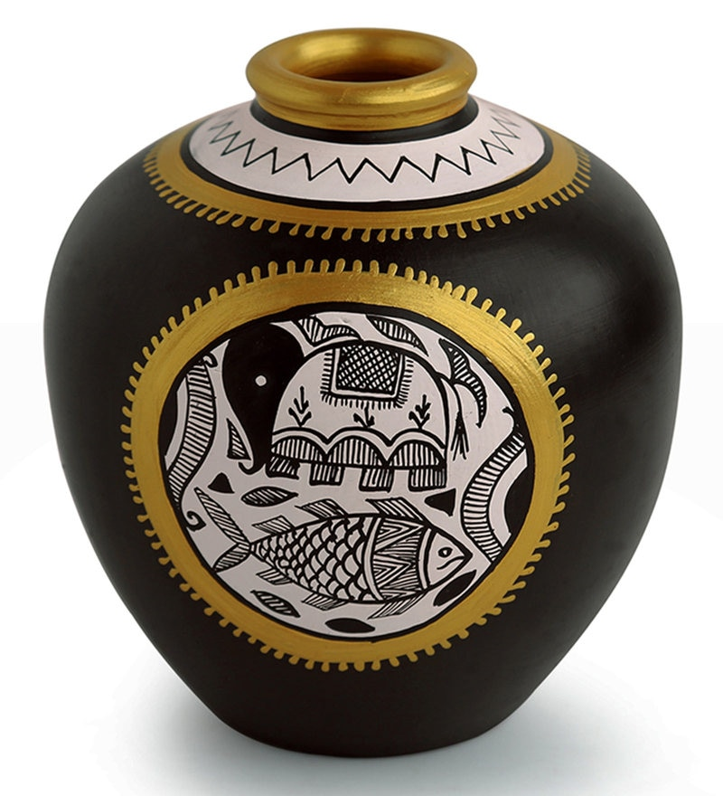 Buy Black & Gold Terracotta Round Matka Vase With Intricate
