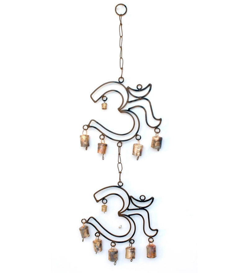 Black & Golden Mild Steel & Brass Om Wall Hanging Wind Chime By Home Sparkle