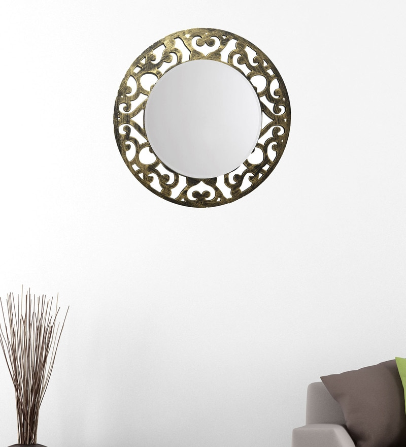 Black And Gold 14.5 x 0.5 x 14.5 Inch Floral Mirror by Height of Designs