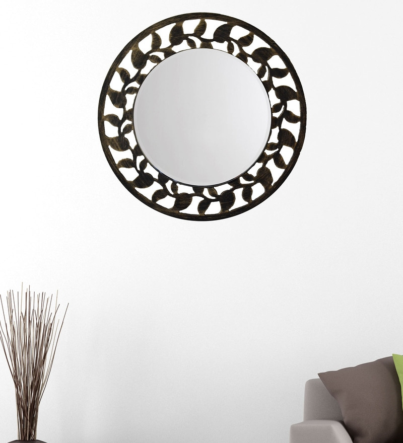 Black And Gold 14.5 x 0.5 x 14.5 Inch Leaf Border Mirror by Height of Designs