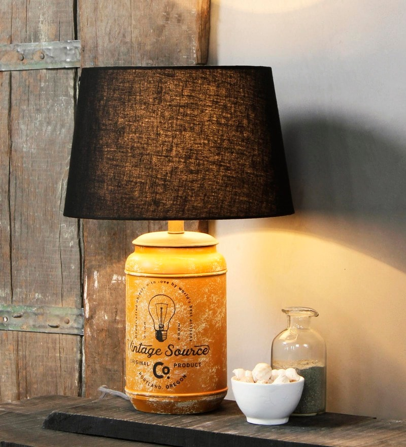 Black Cotton Alana Table Lamp by Fabuliv