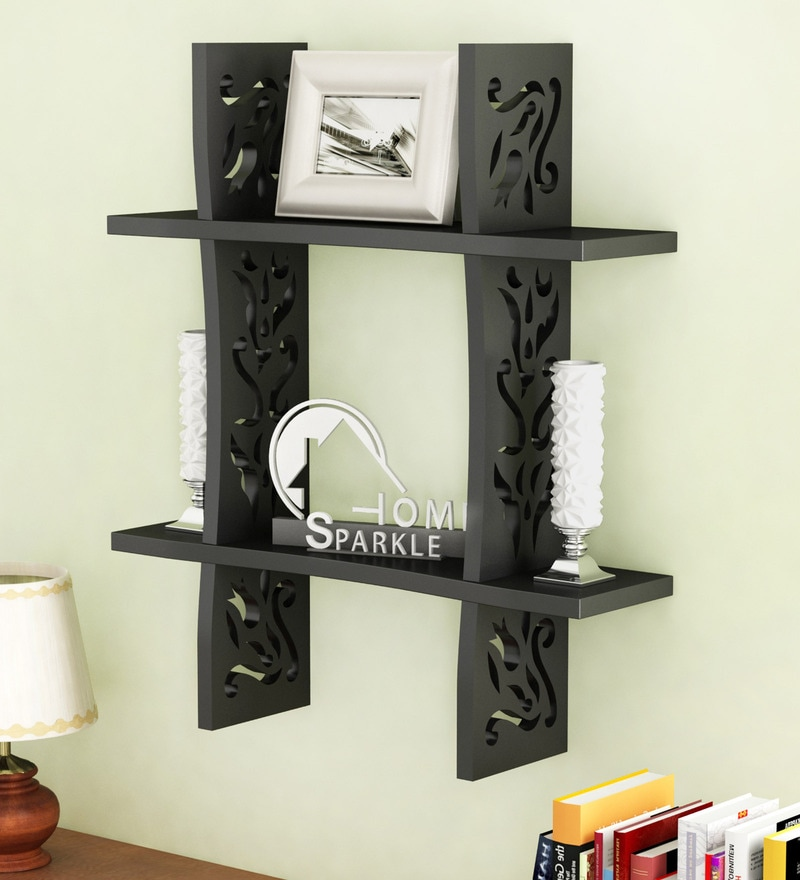Black Engineered Wood Plus Shaped Wall Rack By Home Sparkle