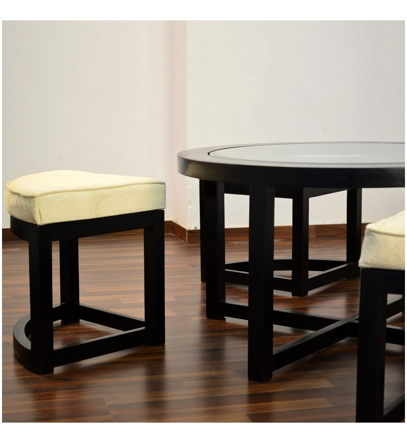 Black Forest Round Coffee Table With 4 Stools By Mudramark Online Coffee Centre Tables
