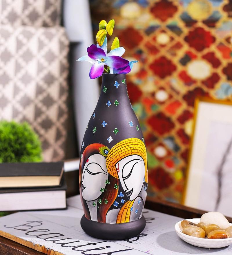 Black Glass Krishna's Lila Handpainted Vase by Posh N Plush