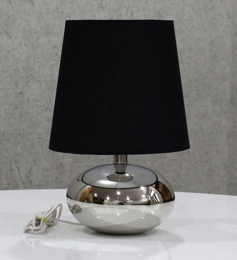 Black Handloom Fabric with Acrylic Sheet Table Lamp by Craftter