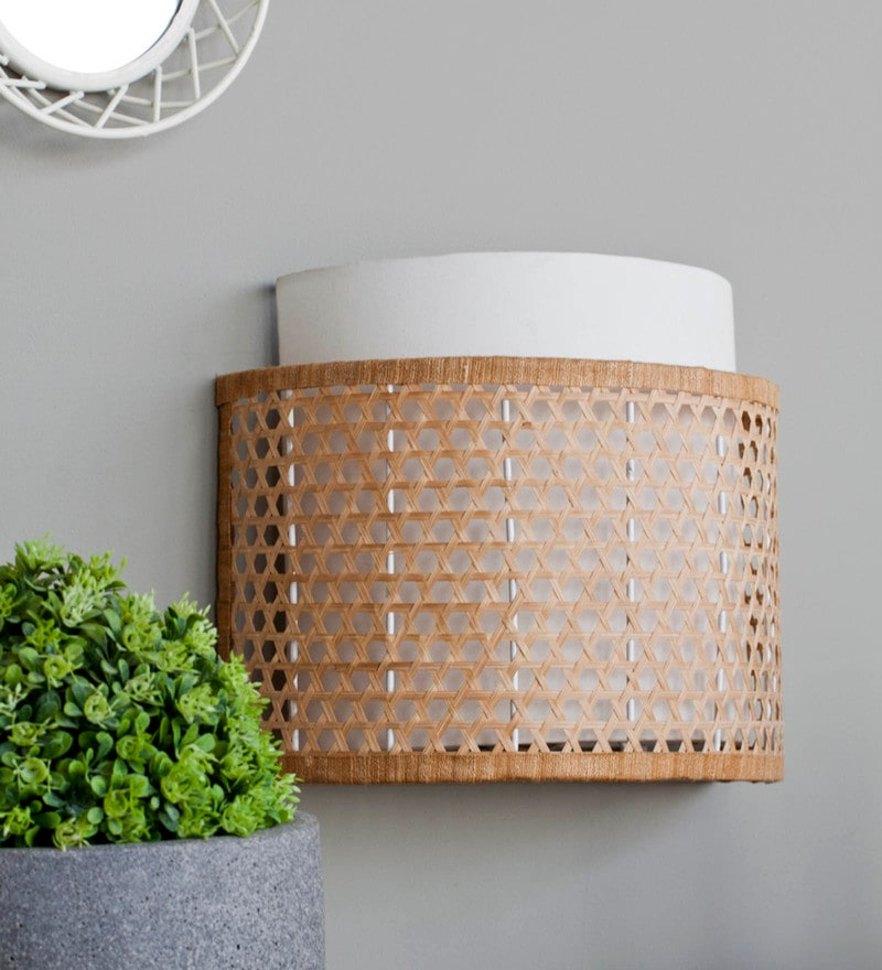Beige Cane Wall Lamp by Orange Tree