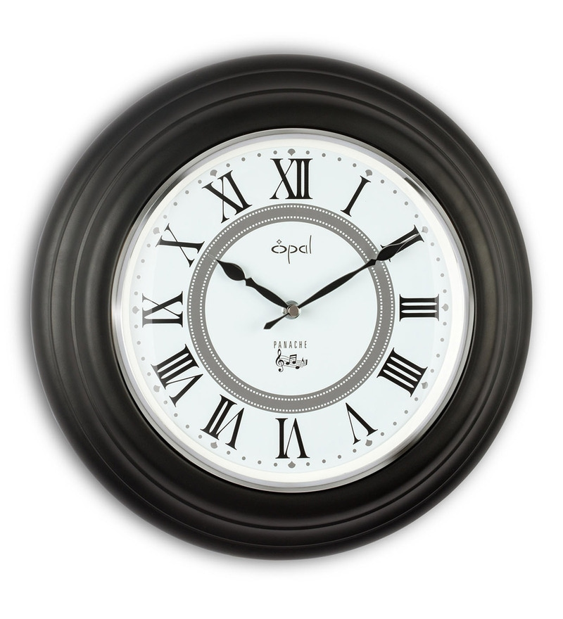 Black Metal 16 Inch Designer Hourly Westminster Chime and Strike Wall Clock by Opal