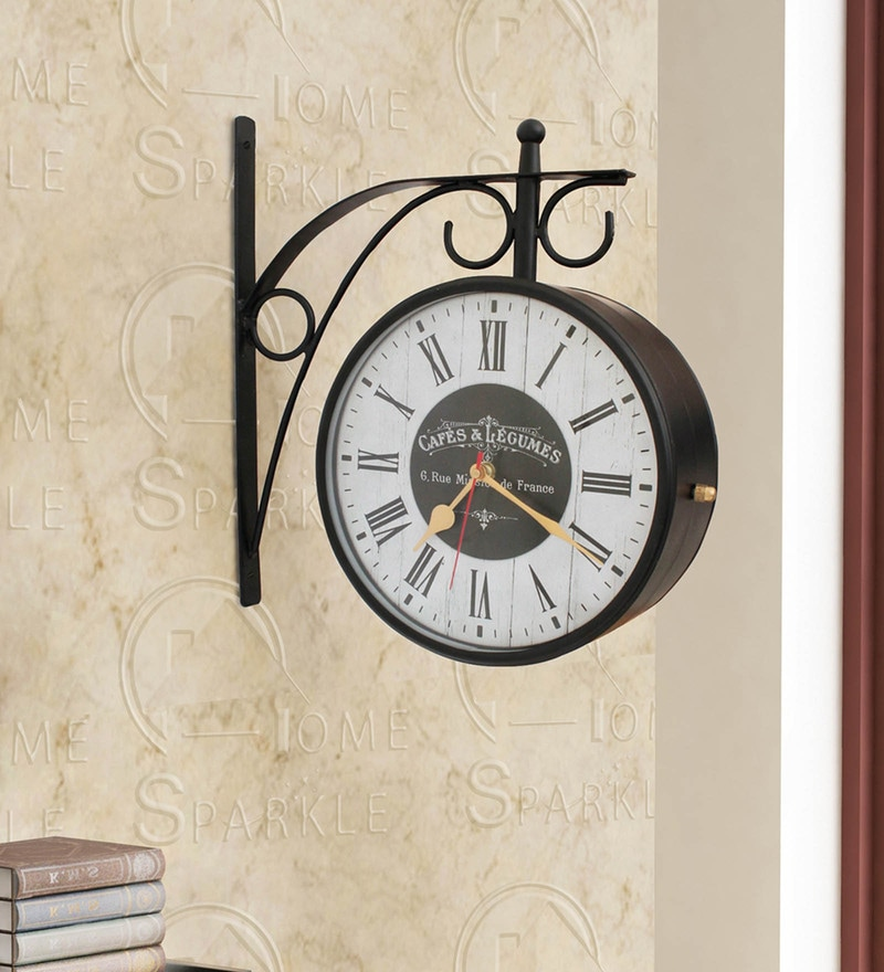 Black Mild Steel 11.5 x 4 x 12 Inch Vintage Style Double Sided Station Clock by Home Sparkle